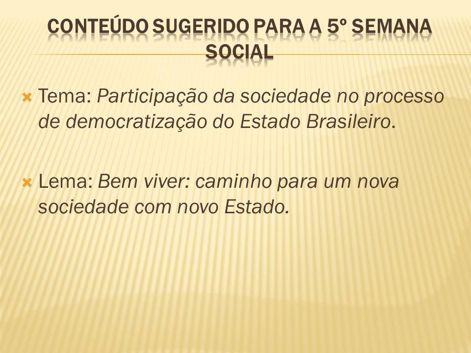 Tema: Participação da sociedade no processo de democratização do Estado Brasileiro.