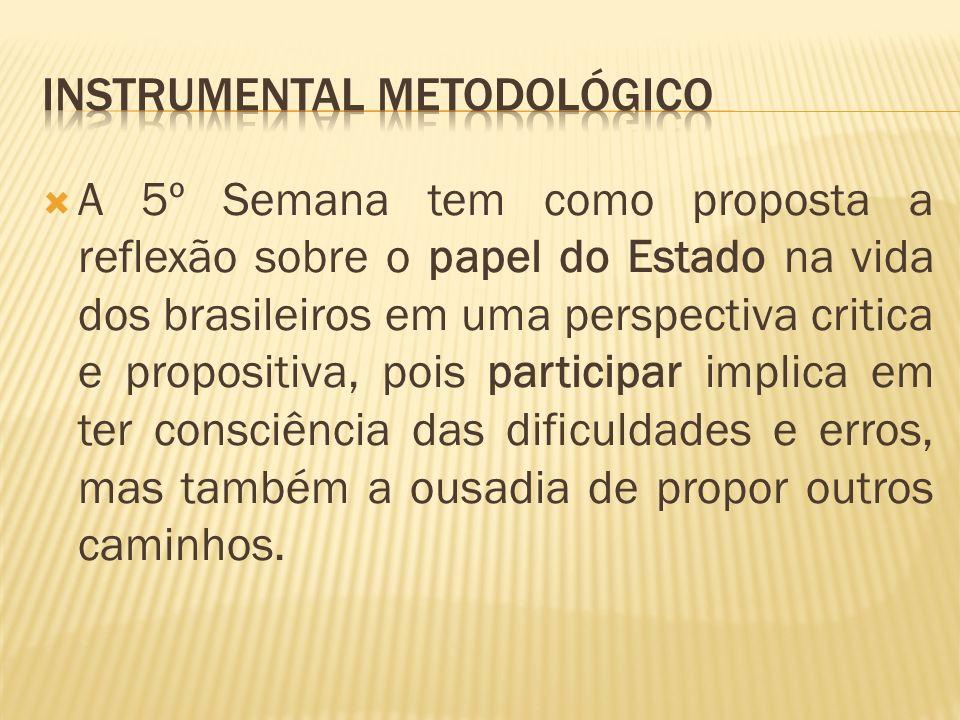 O instrumental sugere um caminho para que a proposta da 5ª Semana Social se efetive.