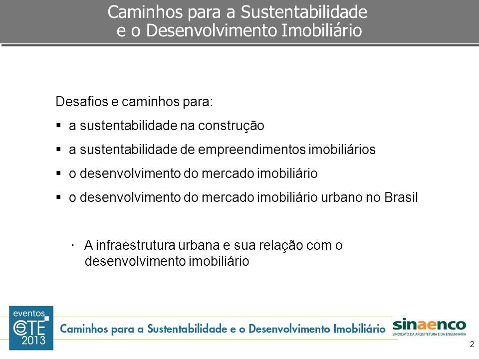 2 Desafios e caminhos para: a sustentabilidade na construção a sustentabilidade de empreendimentos imobiliários o desenvolvimento do mercado imobiliár