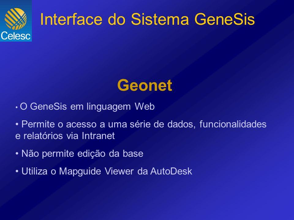 Geonet O GeneSis em linguagem Web Permite o acesso a uma série de dados, funcionalidades e relatórios via Intranet Não permite edição da base Utiliza