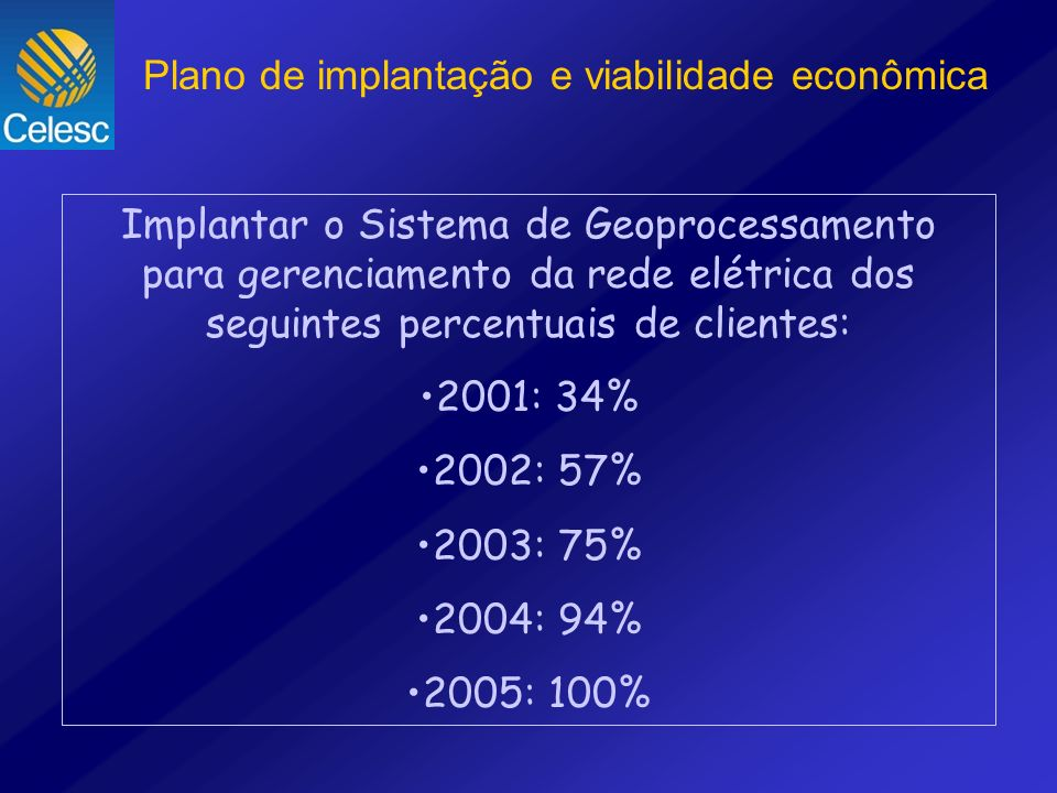 Implantar o Sistema de Geoprocessamento para gerenciamento da rede elétrica dos seguintes percentuais de clientes: 2001: 34% 2002: 57% 2003: 75% 2004:
