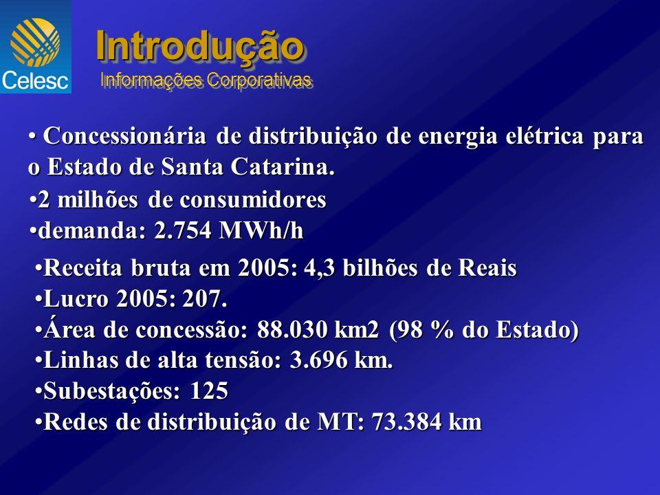 Receita bruta em 2005: 4,3 bilhões de ReaisReceita bruta em 2005: 4,3 bilhões de Reais Lucro 2005: 207.Lucro 2005: 207. Área de concessão: 88.030 km2