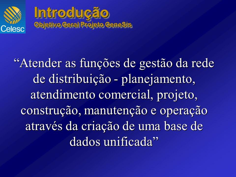 Introdução Objetivo Geral Projeto GeneSis Introdução Atender as funções de gestão da rede de distribuição - planejamento, atendimento comercial, proje