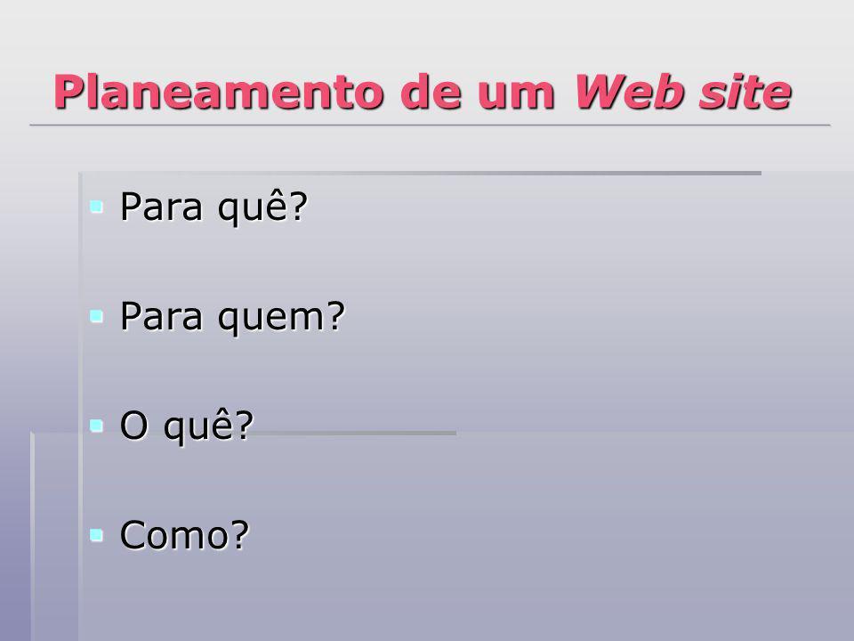 Planeamento de um Web site Para quê? Para quê? Para quem? Para quem? O quê? O quê? Como? Como?