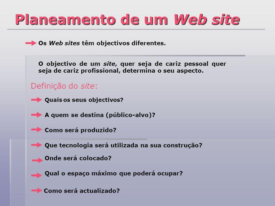 Os Web sites têm objectivos diferentes. O objectivo de um site, quer seja de cariz pessoal quer seja de cariz profissional, determina o seu aspecto. D