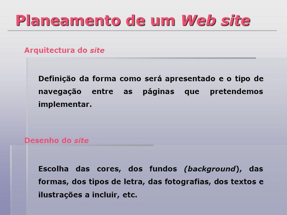 Arquitectura do site Definição da forma como será apresentado e o tipo de navegação entre as páginas que pretendemos implementar. Desenho do site Esco