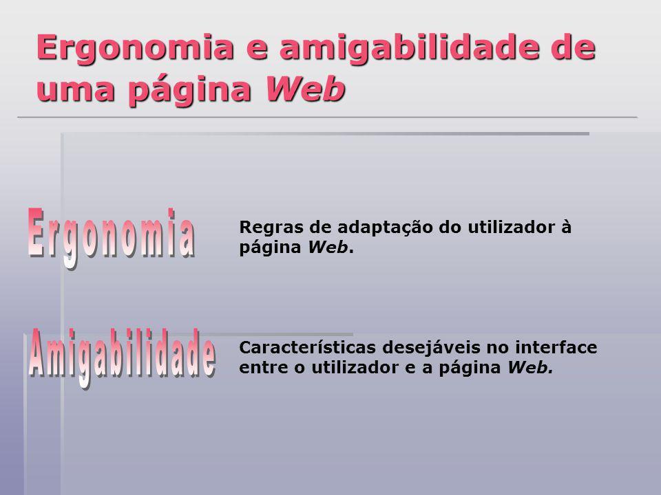 Ergonomia e amigabilidade de uma página Web Regras de adaptação do utilizador à página Web. Características desejáveis no interface entre o utilizador