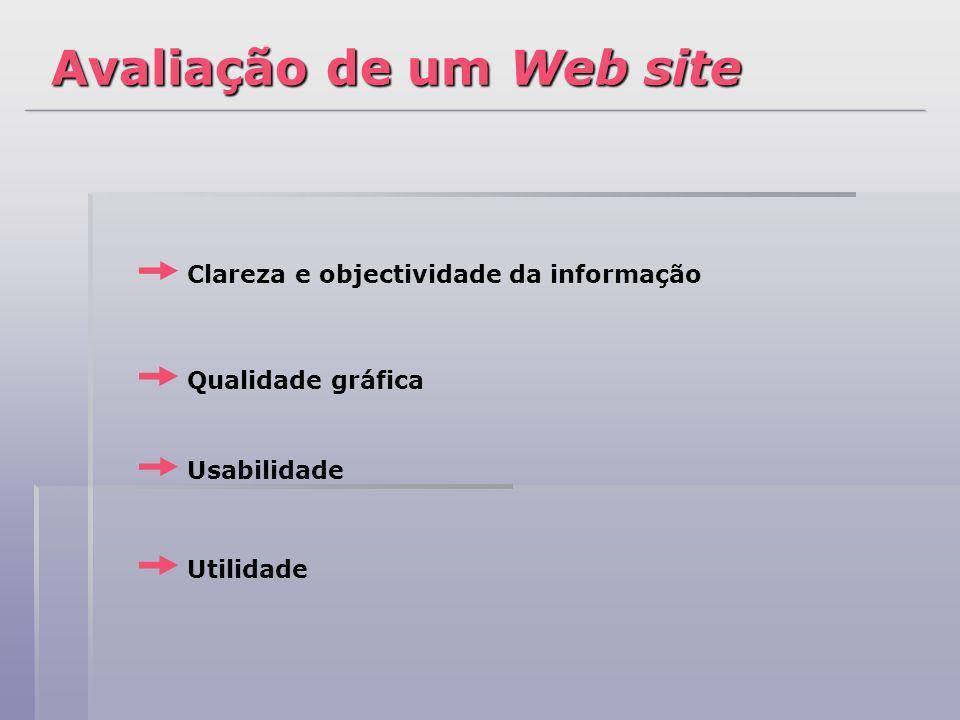 Clareza e objectividade da informação Qualidade gráfica Usabilidade Utilidade Avaliação de um Web site