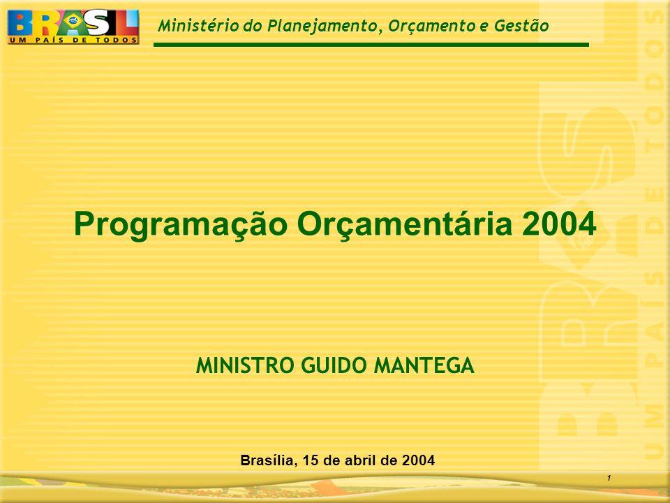 Ministério do Planejamento, Orçamento e Gestão 1 Programação Orçamentária 2004 Brasília, 15 de abril de 2004 MINISTRO GUIDO MANTEGA
