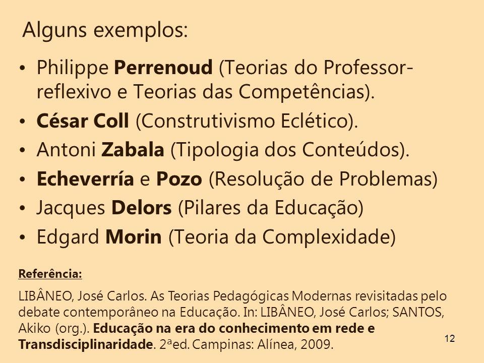 12 Alguns exemplos: Philippe Perrenoud (Teorias do Professor- reflexivo e Teorias das Competências). César Coll (Construtivismo Eclético). Antoni Zaba