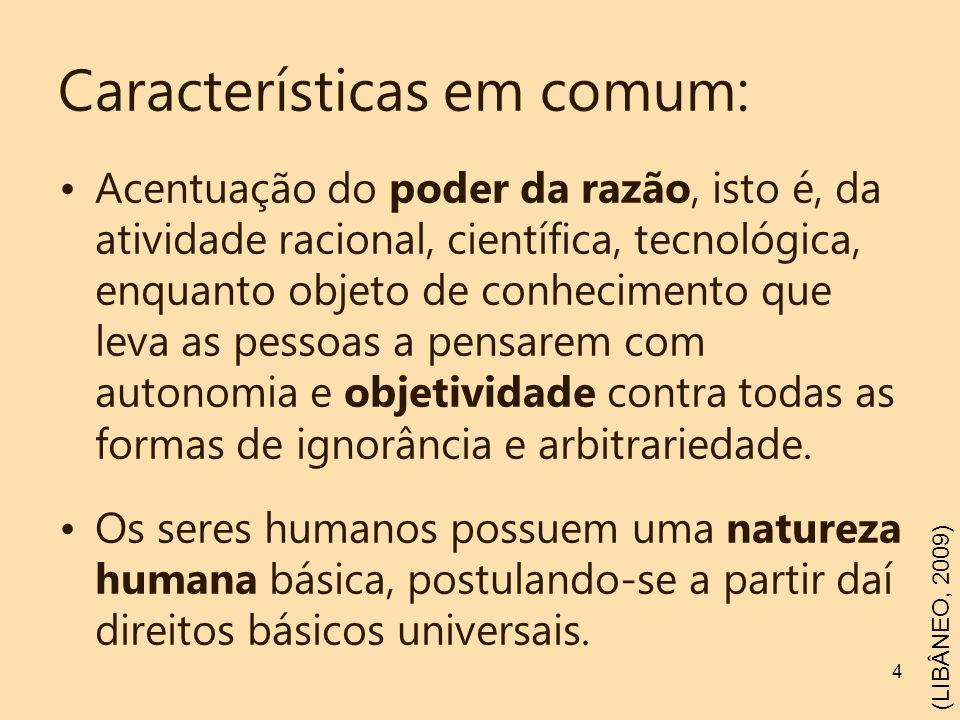 4 Características em comum: Acentuação do poder da razão, isto é, da atividade racional, científica, tecnológica, enquanto objeto de conhecimento que