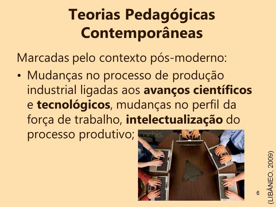 6 Teorias Pedagógicas Contemporâneas Marcadas pelo contexto pós-moderno: Mudanças no processo de produção industrial ligadas aos avanços científicos e