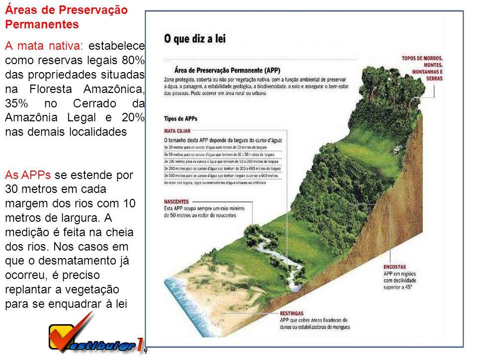 Áreas de Preservação Permanentes A mata nativa: estabelece como reservas legais 80% das propriedades situadas na Floresta Amazônica, 35% no Cerrado da