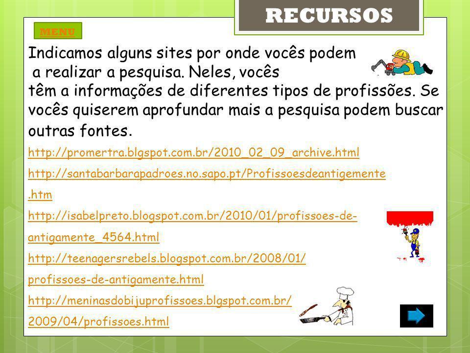 http://chc.cienciahoje.uol.com.br/revista/quando-crescer-vou-ser http://vestibular.brasilescola.com/profissoes-futuro/ http://g1.globo.com/jornal-nacional/noticia/2012/03/pesquisa-destaca-9- profissoes-com-mais-mercado-de-trabalho-no-futuro.html http://revistagalileu.globo.com/Revista/Common/0,,EMl275532- 17773,00SAIBA+SAO-AS-PROFISSOES+DO+FUTURO.html http://blog.maisestudo.com.br/carreiras-promissoras/ http://vestibular.universia.com.br/o-que-estudar/profissoes-do-futuro / http://www.youtube.com/watch?v=lkyUpo0P8g http://www.youtube.com/watch?v=F-iipw5hD_l RECURSOS MENU