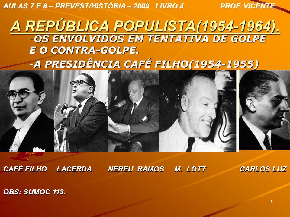 1 A REPÚBLICA POPULISTA(1954-1964). -O-O-O-OS ENVOLVIDOS EM TENTATIVA DE GOLPE E O CONTRA-GOLPE. -A-A-A-A PRESIDÊNCIA CAFÉ FILHO(1954-1955) AULAS 7 E