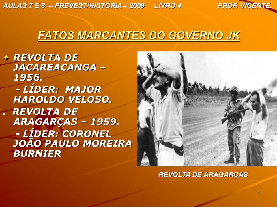 5 FATOS MARCANTES DO GOVERNO JK REVOLTA DE JACAREACANGA – 1956. - LÍDER: MAJOR HAROLDO VELOSO. - LÍDER: MAJOR HAROLDO VELOSO.. REVOLTA DE ARAGARÇAS –