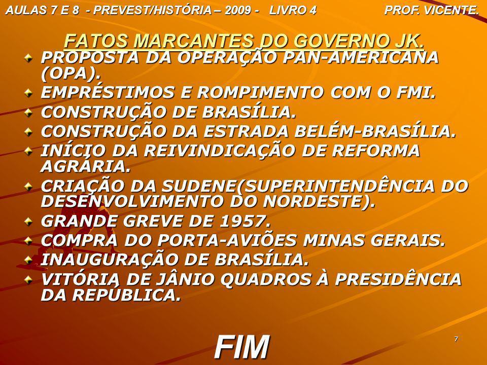 7 FATOS MARCANTES DO GOVERNO JK. PROPOSTA DA OPERAÇÃO PAN-AMERICANA (OPA). EMPRÉSTIMOS E ROMPIMENTO COM O FMI. CONSTRUÇÃO DE BRASÍLIA. CONSTRUÇÃO DA E