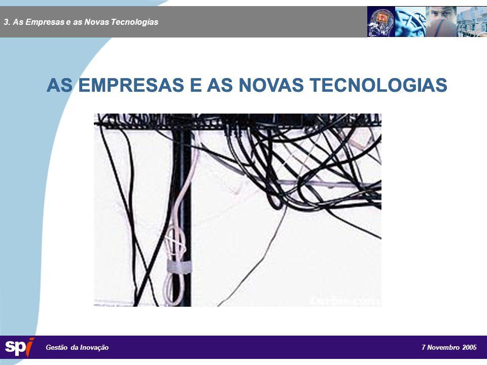 7 Novembro 2005 Gestão da Inovação AS EMPRESAS E AS NOVAS TECNOLOGIAS 3.