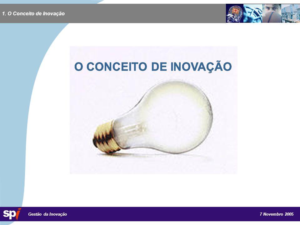 7 Novembro 2005 Gestão da Inovação 1. O Conceito de Inovação O CONCEITO DE INOVAÇÃO