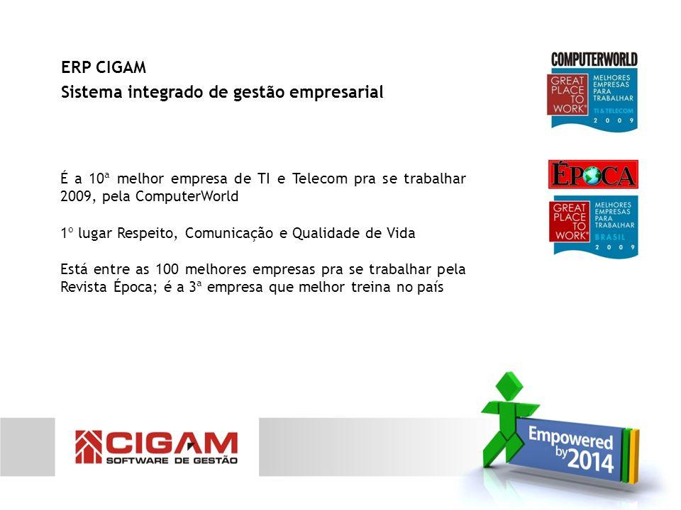 Configuração do ERP CIGAM para uma empresa de construção civil Módulo de Gestão Financeira Módulo de Contratos Módulo de Compras e Suprimentos Módulo de Faturamento Módulo de Materiais Módulo de Gestão de Projetos Empowered by 2014