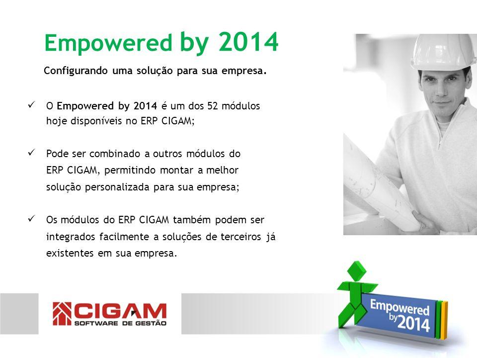 Configurando uma solução para sua empresa. Empowered by 2014 O Empowered by 2014 é um dos 52 módulos hoje disponíveis no ERP CIGAM; Pode ser combinado