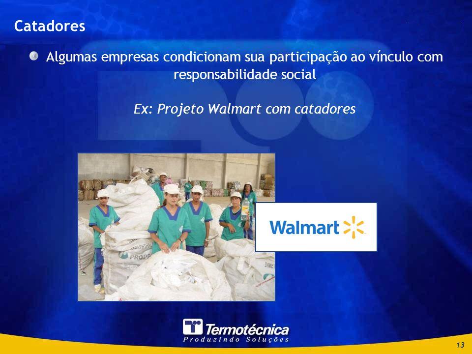 13 Catadores Algumas empresas condicionam sua participação ao vínculo com responsabilidade social Ex: Projeto Walmart com catadores