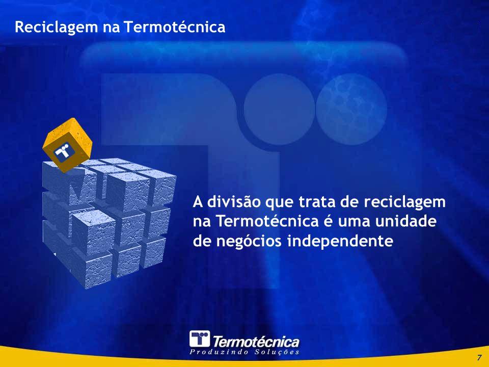 7 Reciclagem na Termotécnica A divisão que trata de reciclagem na Termotécnica é uma unidade de negócios independente
