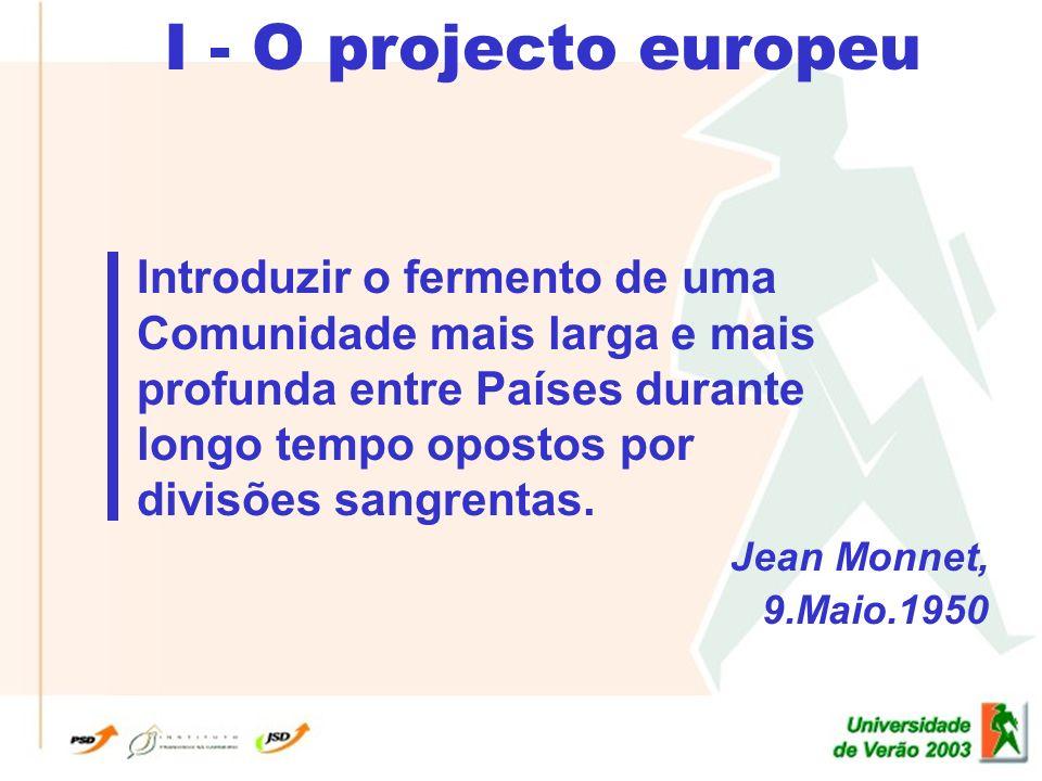 I - O projecto europeu Introduzir o fermento de uma Comunidade mais larga e mais profunda entre Países durante longo tempo opostos por divisões sangrentas.