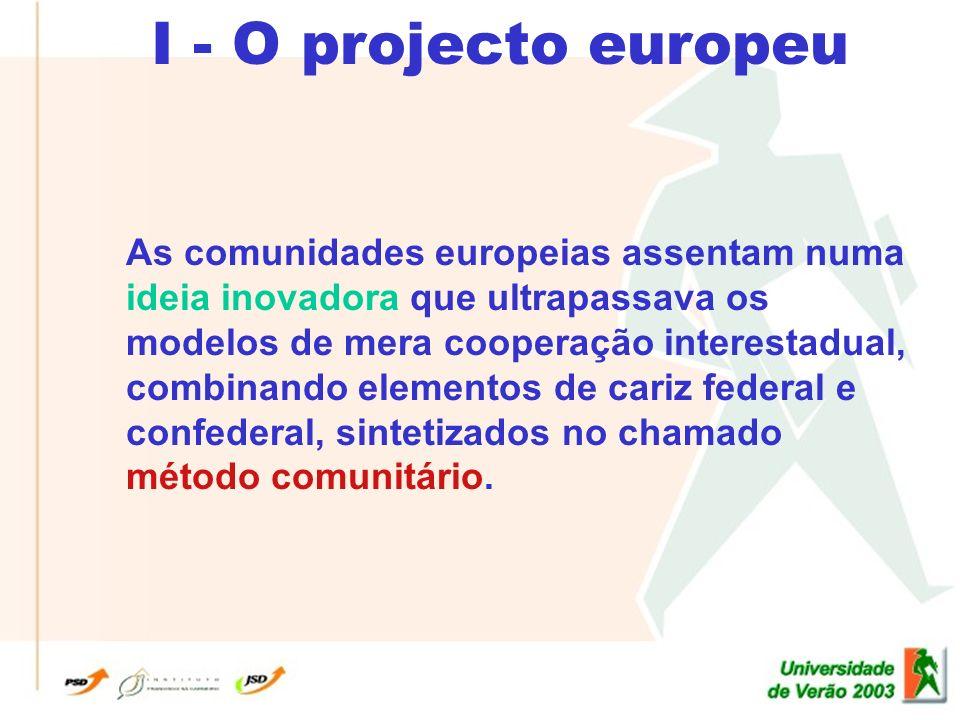 I - O projecto europeu As comunidades europeias assentam numa ideia inovadora que ultrapassava os modelos de mera cooperação interestadual, combinando elementos de cariz federal e confederal, sintetizados no chamado método comunitário.