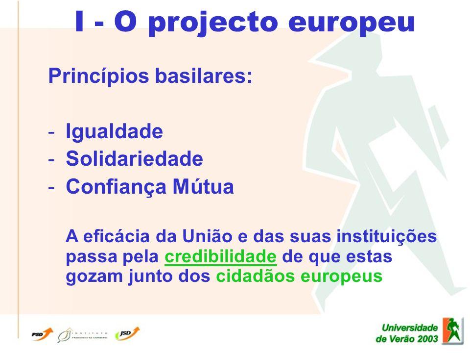 I - O projecto europeu Princípios basilares: -Igualdade -Solidariedade -Confiança Mútua A eficácia da União e das suas instituições passa pela credibilidade de que estas gozam junto dos cidadãos europeus