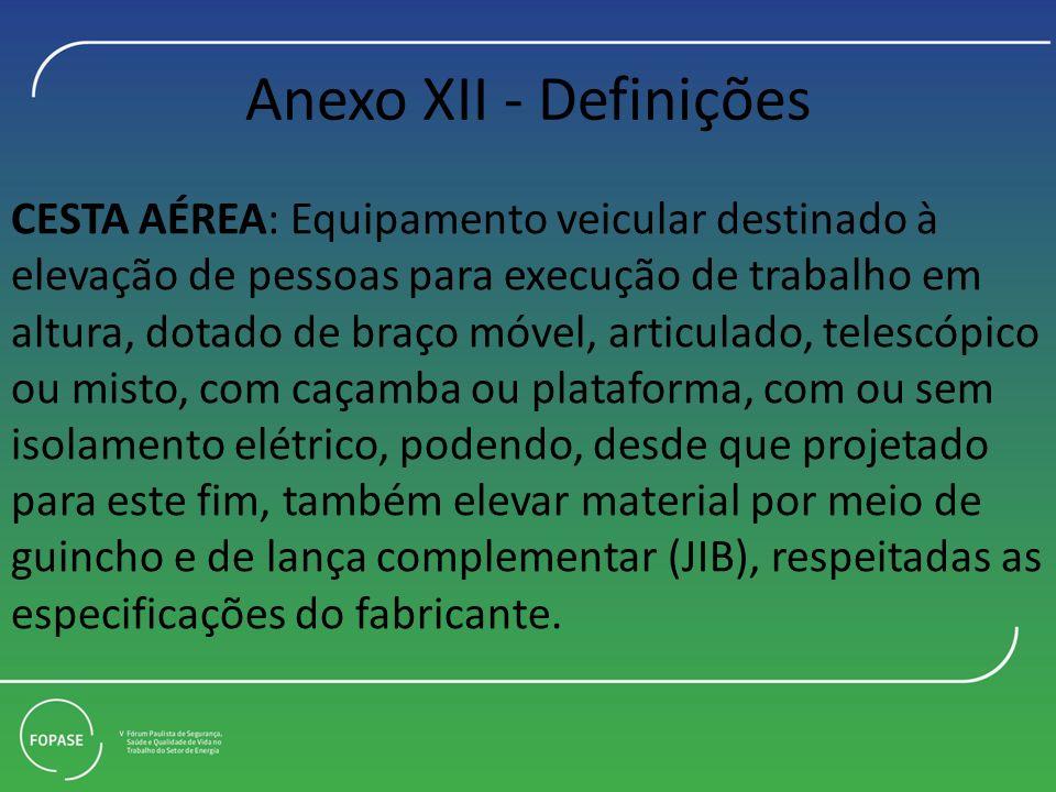 Anexo XII - Definições CESTA AÉREA: Equipamento veicular destinado à elevação de pessoas para execução de trabalho em altura, dotado de braço móvel, a