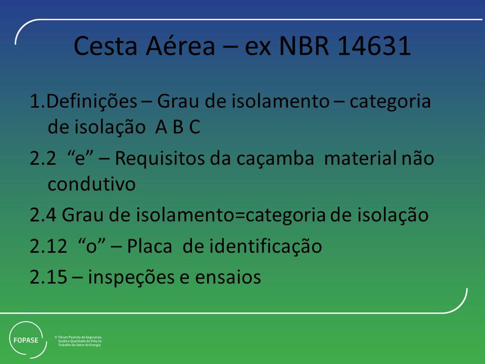 Cesta Aérea – ex NBR 14631 1.Definições – Grau de isolamento – categoria de isolação A B C 2.2 e – Requisitos da caçamba material não condutivo 2.4 Grau de isolamento=categoria de isolação 2.12 o – Placa de identificação 2.15 – inspeções e ensaios