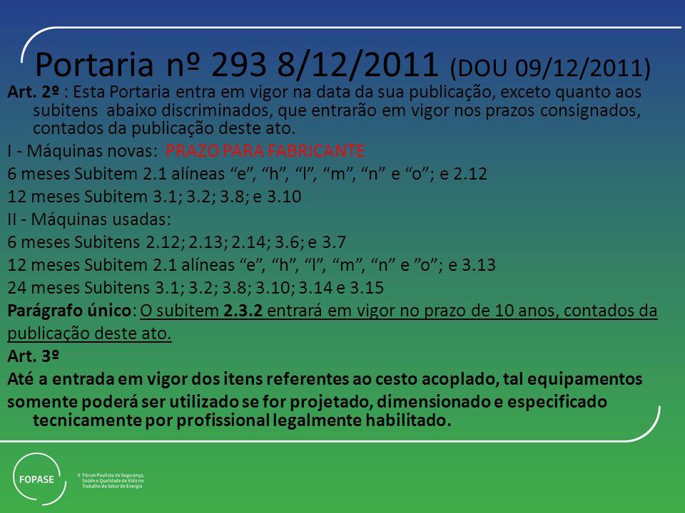 Portaria nº 293 8/12/2011 (DOU 09/12/2011) Art. 2º : Esta Portaria entra em vigor na data da sua publicação, exceto quanto aos subitens abaixo discrim