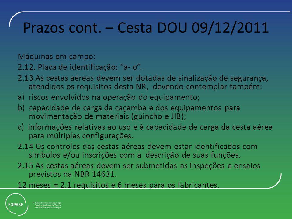 Prazos cont. – Cesta DOU 09/12/2011 Máquinas em campo: 2.12. Placa de identificação: a- o. 2.13 As cestas aéreas devem ser dotadas de sinalização de s