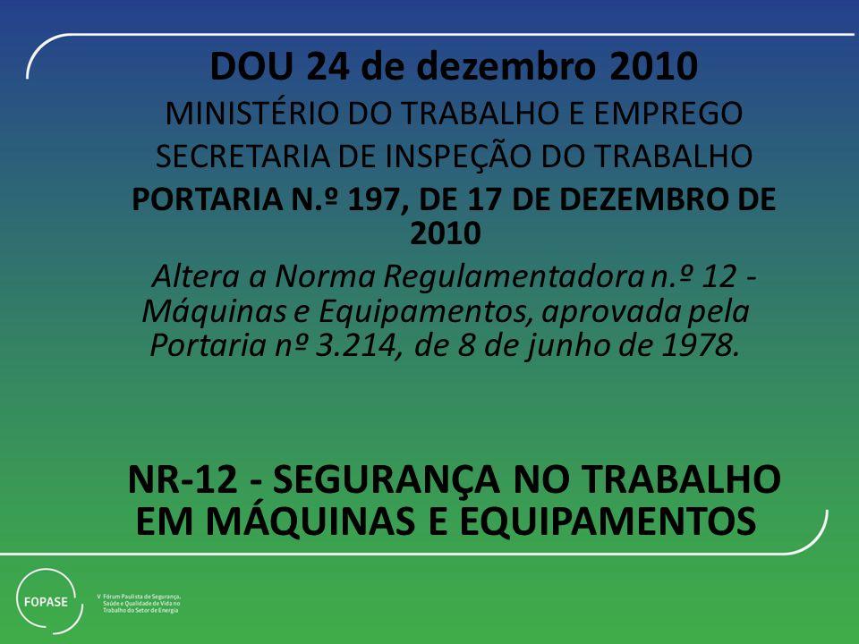 DOU 24 de dezembro 2010 MINISTÉRIO DO TRABALHO E EMPREGO SECRETARIA DE INSPEÇÃO DO TRABALHO PORTARIA N.º 197, DE 17 DE DEZEMBRO DE 2010 Altera a Norma Regulamentadora n.º 12 - Máquinas e Equipamentos, aprovada pela Portaria nº 3.214, de 8 de junho de 1978.