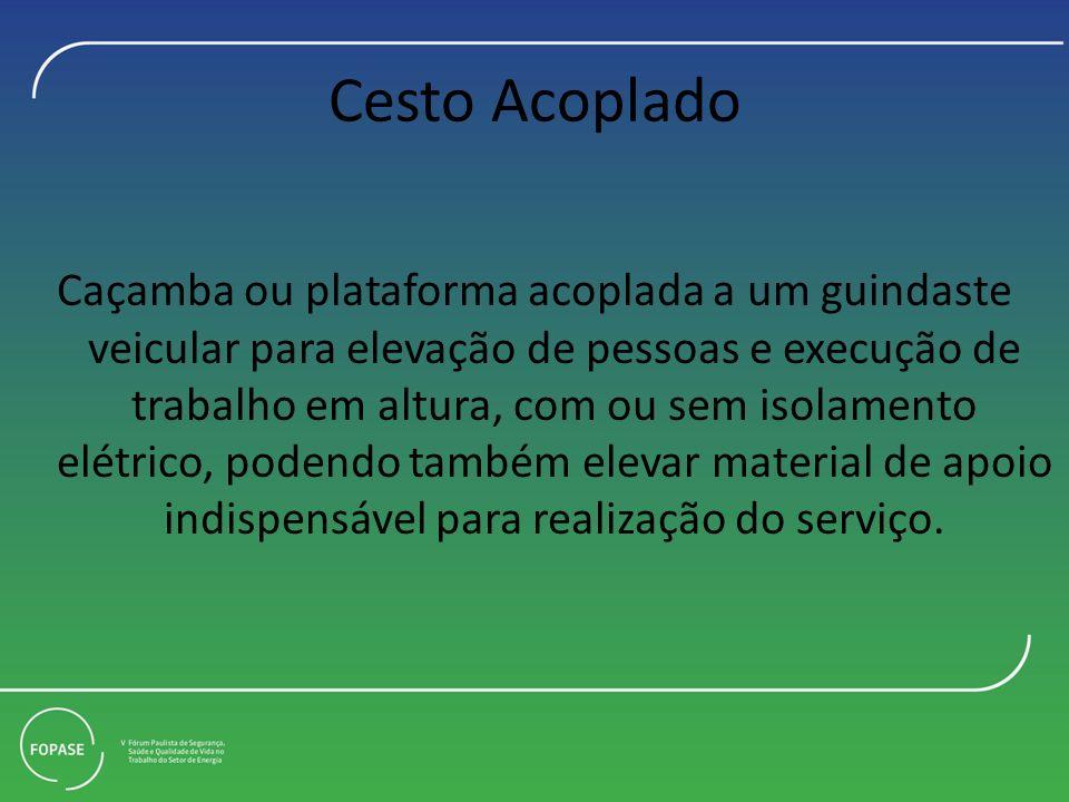 Cesto Acoplado Caçamba ou plataforma acoplada a um guindaste veicular para elevação de pessoas e execução de trabalho em altura, com ou sem isolamento