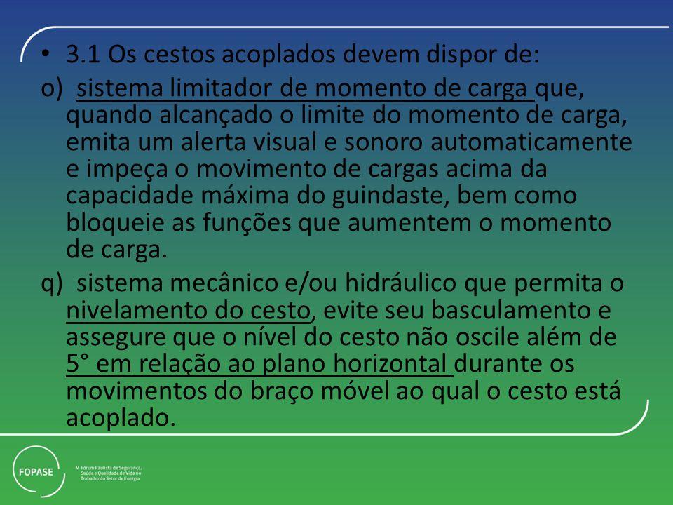 3.1 Os cestos acoplados devem dispor de: o) sistema limitador de momento de carga que, quando alcançado o limite do momento de carga, emita um alerta