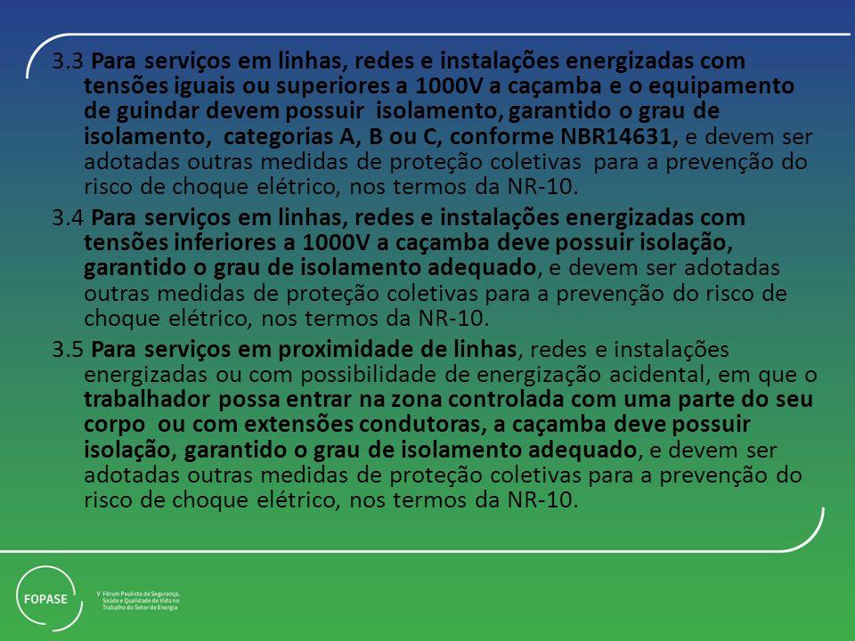 3.3 Para serviços em linhas, redes e instalações energizadas com tensões iguais ou superiores a 1000V a caçamba e o equipamento de guindar devem possu