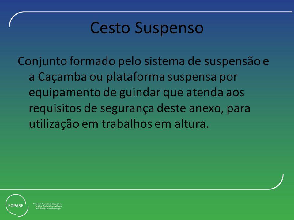 Cesto Suspenso Conjunto formado pelo sistema de suspensão e a Caçamba ou plataforma suspensa por equipamento de guindar que atenda aos requisitos de segurança deste anexo, para utilização em trabalhos em altura.