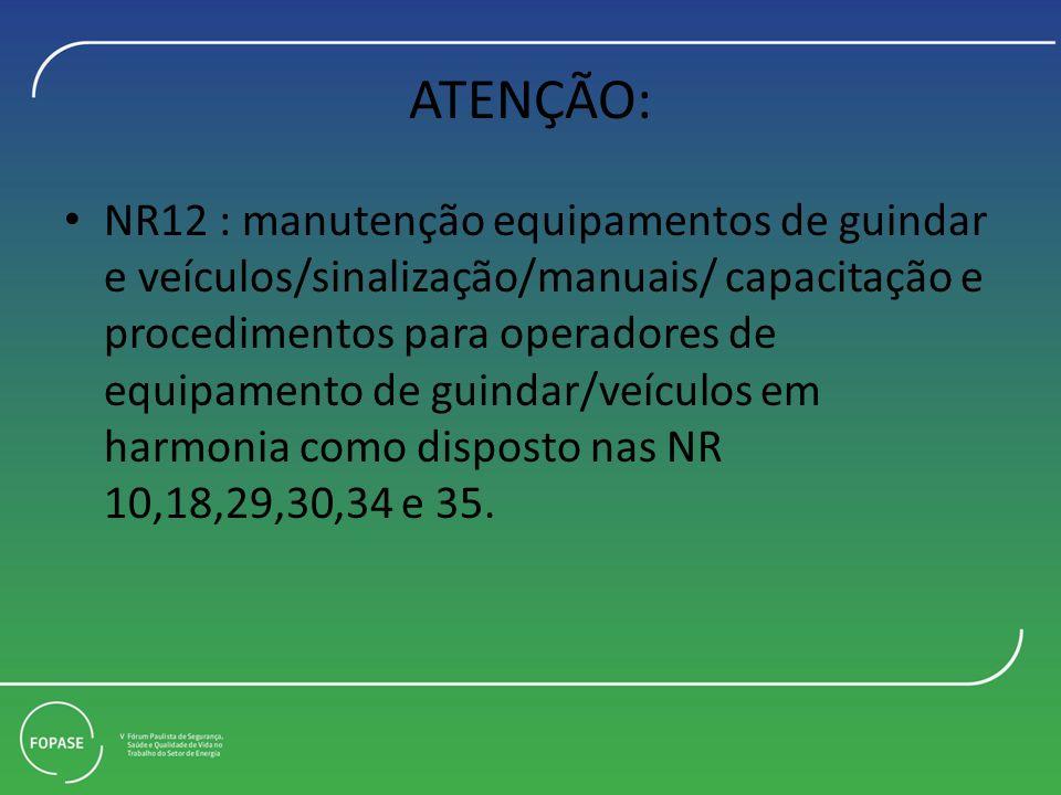 ATENÇÃO: NR12 : manutenção equipamentos de guindar e veículos/sinalização/manuais/ capacitação e procedimentos para operadores de equipamento de guindar/veículos em harmonia como disposto nas NR 10,18,29,30,34 e 35.