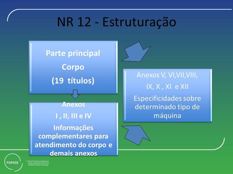 NR 12 - Estruturação Parte principal Corpo (19 títulos) Anexos I, II, III e IV Informações complementares para atendimento do corpo e demais anexos Anexos V, VI,VII,VIII, IX, X, XI e XII Especificidades sobre determinado tipo de máquina