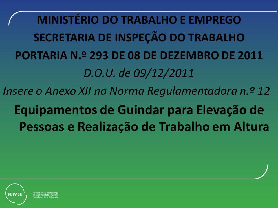 MINISTÉRIO DO TRABALHO E EMPREGO SECRETARIA DE INSPEÇÃO DO TRABALHO PORTARIA N.º 293 DE 08 DE DEZEMBRO DE 2011 D.O.U. de 09/12/2011 Insere o Anexo XII