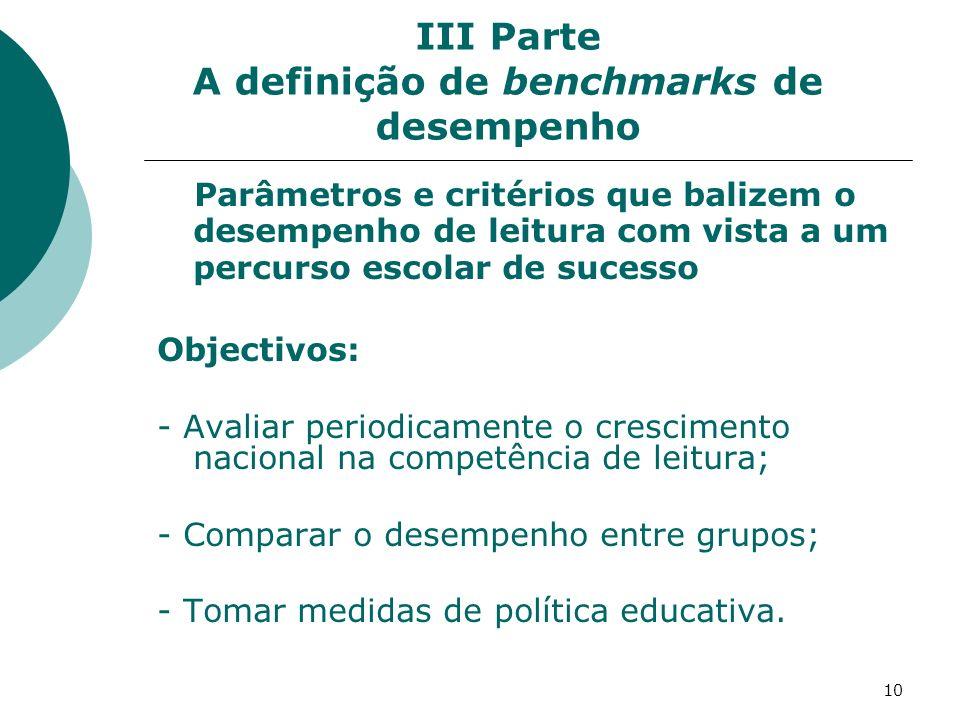 10 III Parte A definição de benchmarks de desempenho Parâmetros e critérios que balizem o desempenho de leitura com vista a um percurso escolar de sucesso Objectivos: - Avaliar periodicamente o crescimento nacional na competência de leitura; - Comparar o desempenho entre grupos; - Tomar medidas de política educativa.