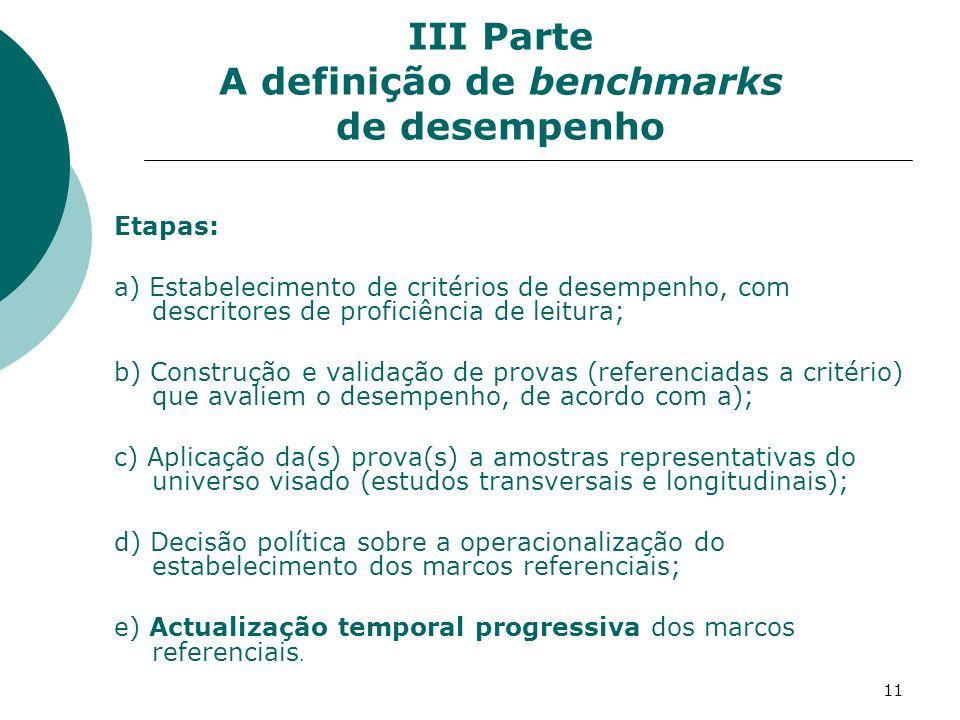11 III Parte A definição de benchmarks de desempenho Etapas: a) Estabelecimento de critérios de desempenho, com descritores de proficiência de leitura; b) Construção e validação de provas (referenciadas a critério) que avaliem o desempenho, de acordo com a); c) Aplicação da(s) prova(s) a amostras representativas do universo visado (estudos transversais e longitudinais); d) Decisão política sobre a operacionalização do estabelecimento dos marcos referenciais; e) Actualização temporal progressiva dos marcos referenciais.
