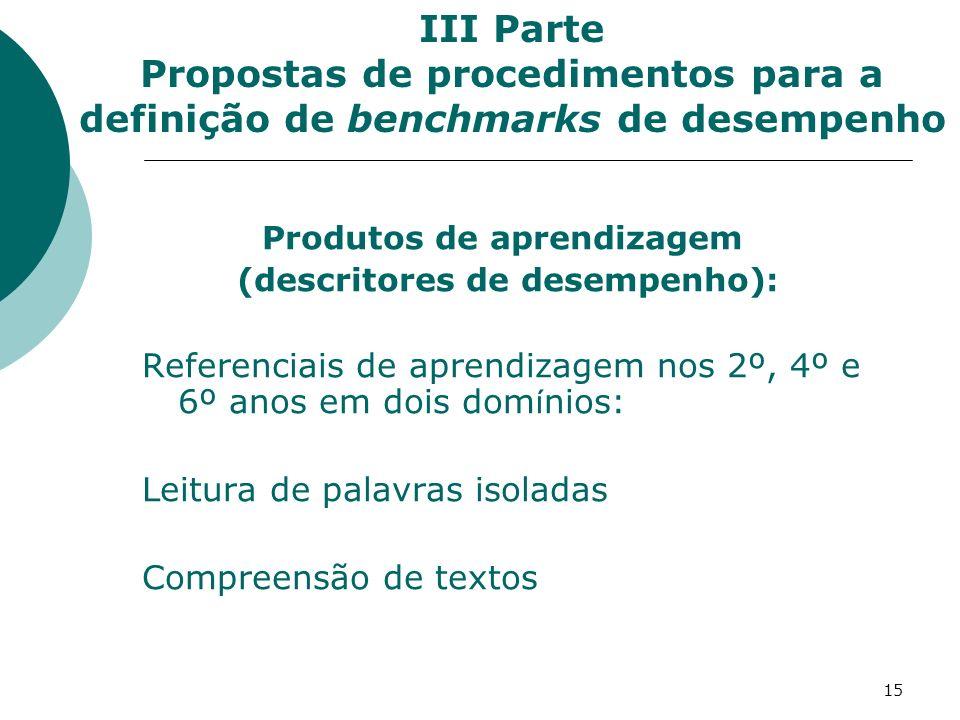 15 Produtos de aprendizagem (descritores de desempenho): Referenciais de aprendizagem nos 2º, 4º e 6º anos em dois dom í nios: Leitura de palavras isoladas Compreensão de textos III Parte Propostas de procedimentos para a definição de benchmarks de desempenho