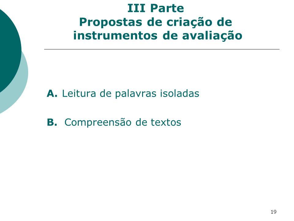19 III Parte Propostas de criação de instrumentos de avaliação A.