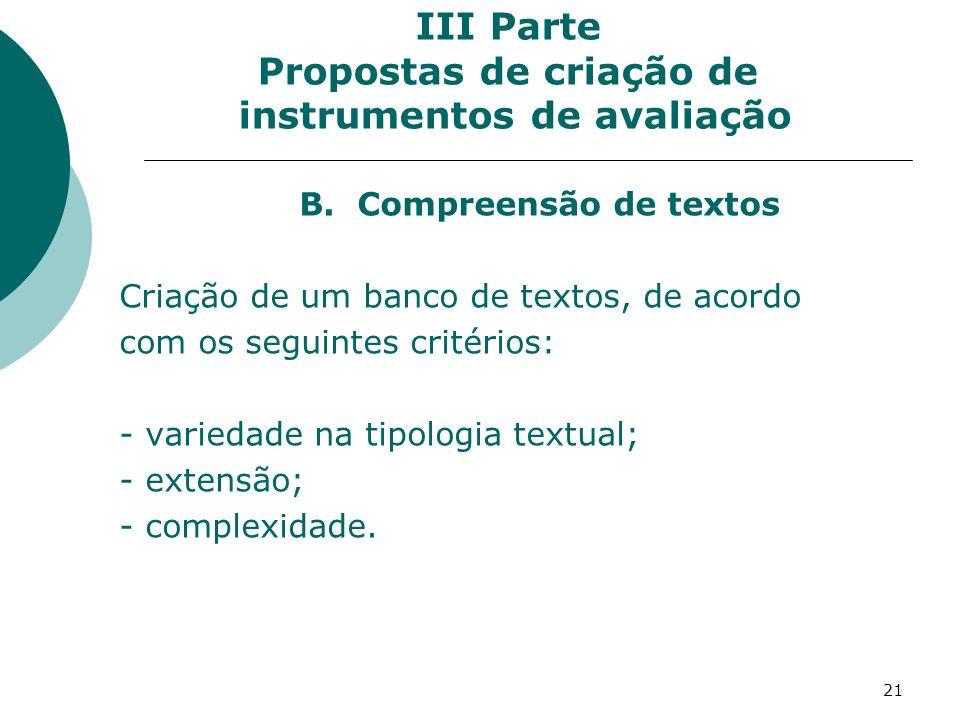 21 III Parte Propostas de criação de instrumentos de avaliação B.
