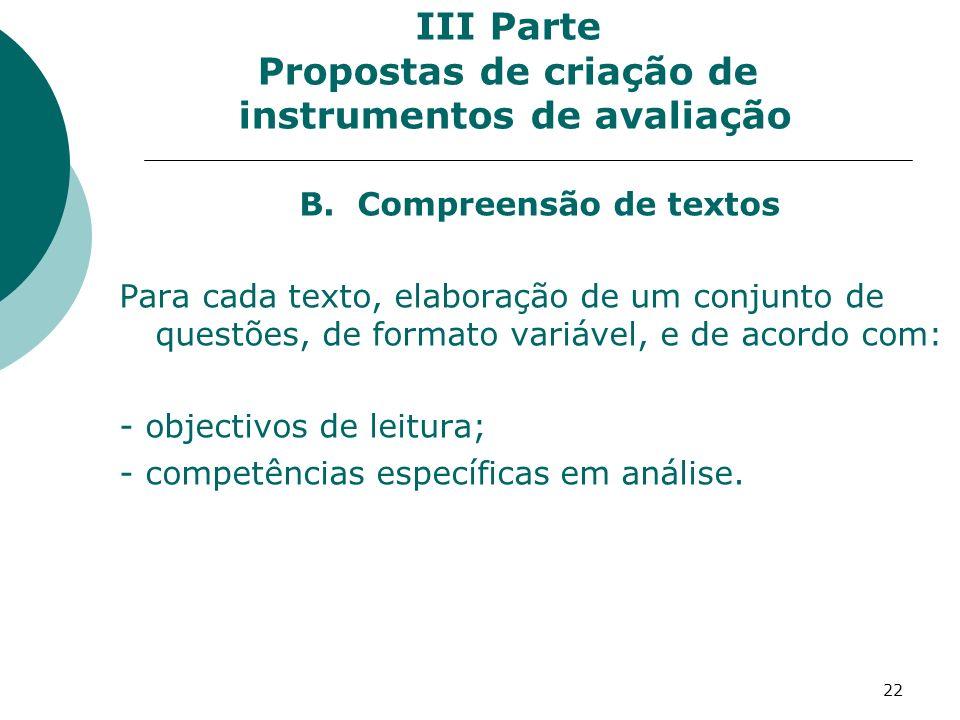 22 III Parte Propostas de criação de instrumentos de avaliação B.