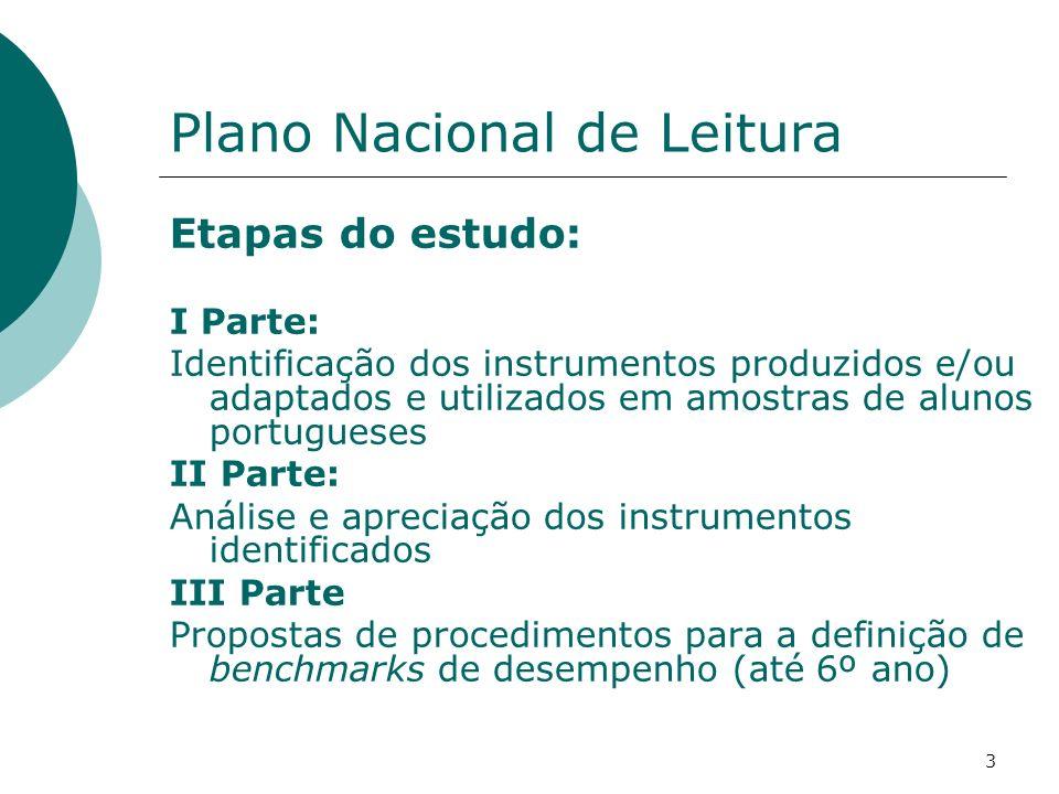 3 Plano Nacional de Leitura Etapas do estudo: I Parte: Identificação dos instrumentos produzidos e/ou adaptados e utilizados em amostras de alunos portugueses II Parte: Análise e apreciação dos instrumentos identificados III Parte Propostas de procedimentos para a definição de benchmarks de desempenho (até 6º ano)