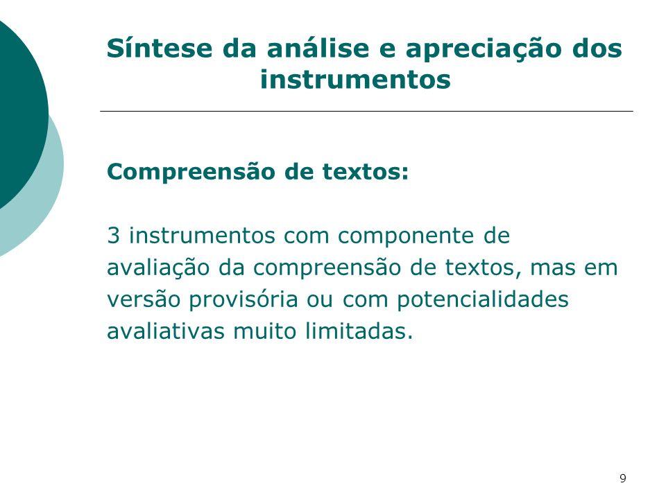 9 Síntese da análise e apreciação dos instrumentos Compreensão de textos: 3 instrumentos com componente de avaliação da compreensão de textos, mas em versão provisória ou com potencialidades avaliativas muito limitadas.